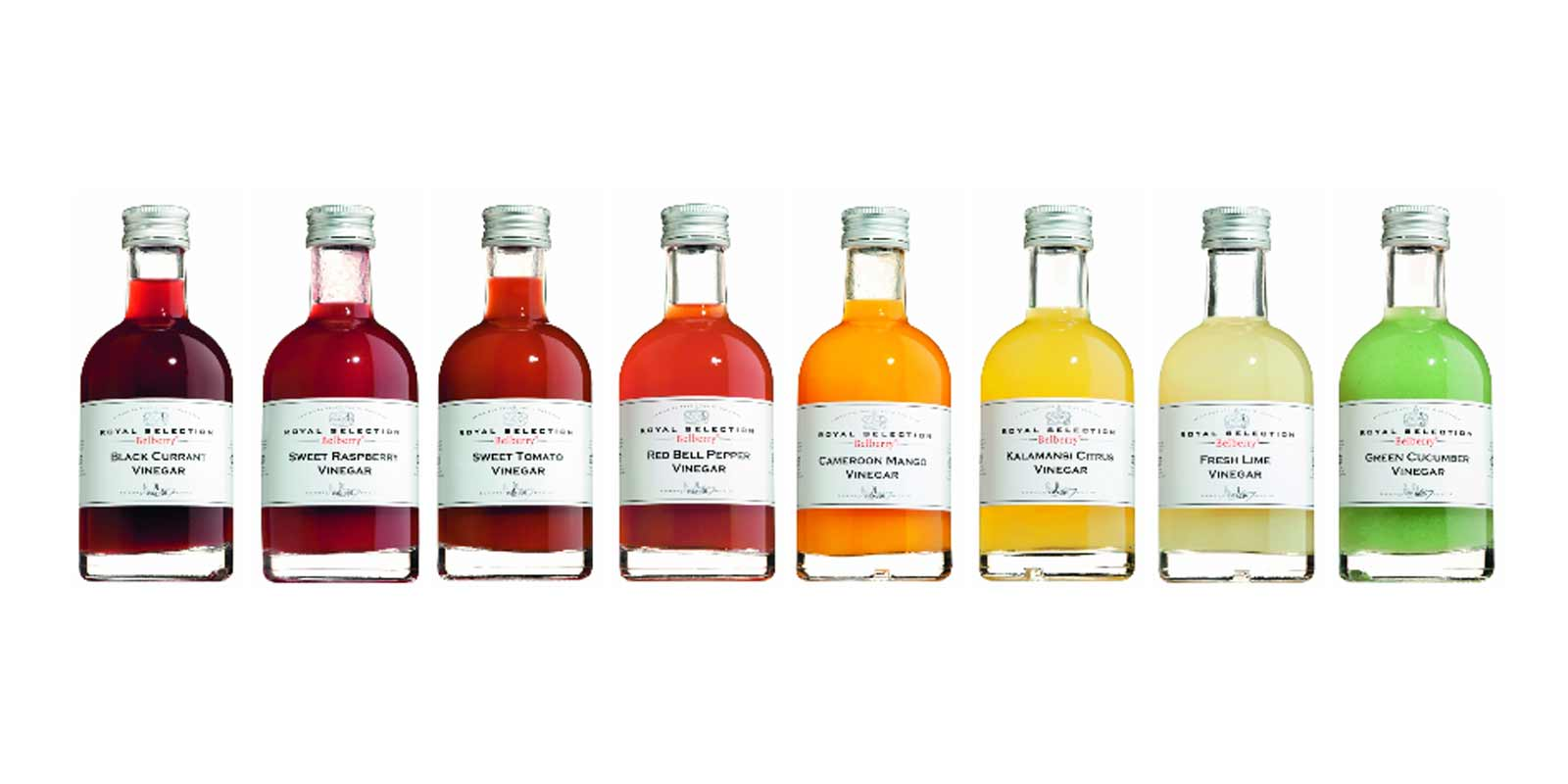 Fruit or vegetable vinegars Belberry Vinegars of limonene, currant, raspberry, lemon, mango, peppers, cucumbers and Tomatens