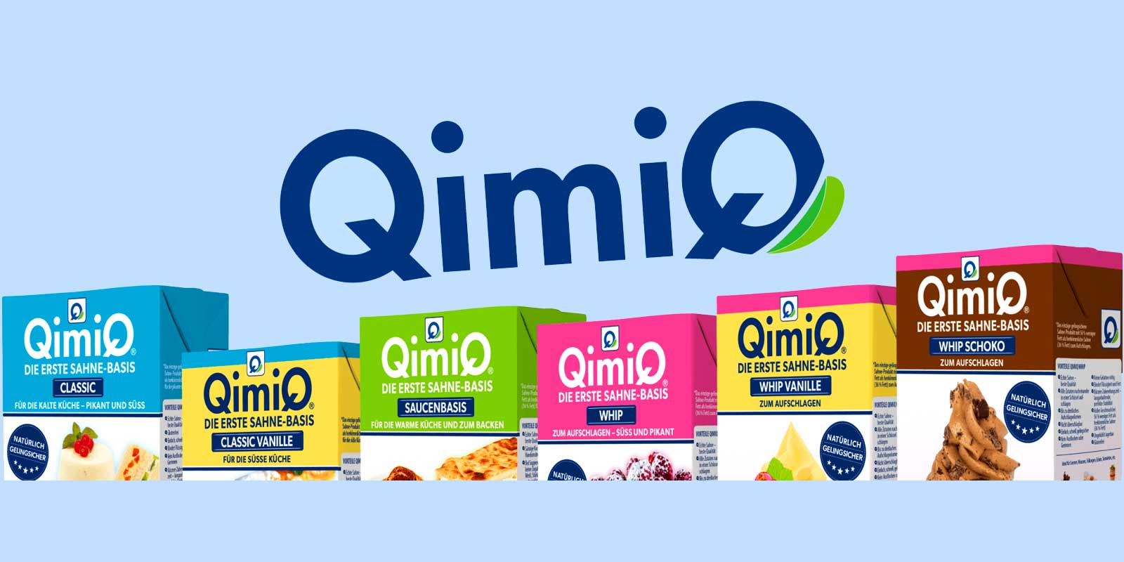 QimiQ - Products QimiQ is the first light cream-based with only 15% fat. It is tasteless and therefore is also suitable for confectioneries, savouries, such as hot and cold dishes. QimiQ is a 100% natural product.