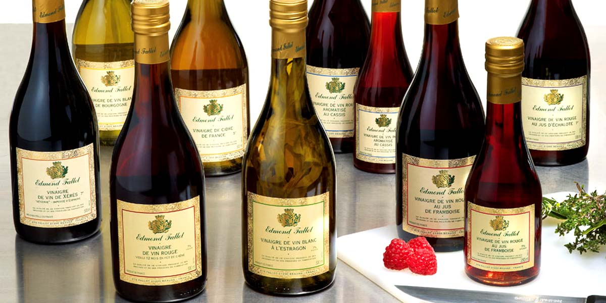 Vinegars of Edmond Fallot Edmond Fallot is a traditional company from France. Your vinegars, mustard and seasoning sauces are world famous and highly sought after.