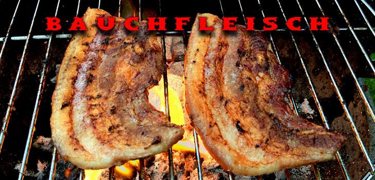 Grillbauch fertig mariniert vom Schwein aus der Landmetzgerei Heinrichs