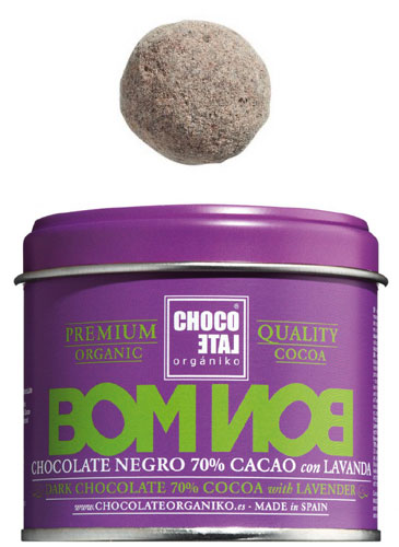 Bombon Dark Chocolate 70 % Lavander Bio, Zartbitterkugeln 70 % Kakao Lavendel, Chocolate Organiko