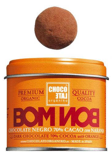 Bombon Dark Chocolate 70%Cocoa Orange-Bergamot Bio, Zartbitterkugeln 70 % Kakao Orange-Bergamotte, Chocolate Organiko