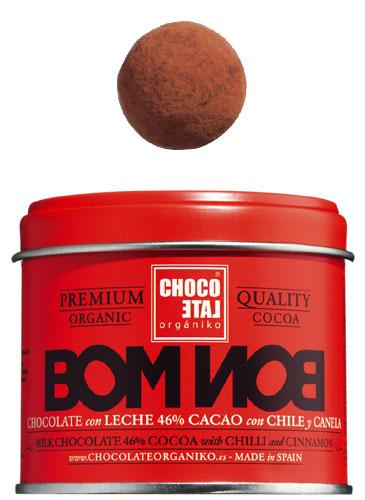 Bombon Milk Chocolate 46% Chilli-Vanilla-Cinnamon, Vollmilchkugeln 46 % Kakao Chilli-Vanille-Zimt, Chocolate Organiko