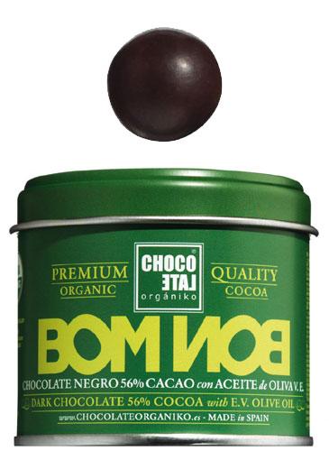 Bombon Dark Chocolate 56 % Cocoa Olive Oil Bio, Zartbitterkugeln 56 % Kakao mit nativem Oliven�l, Chocolate Organiko