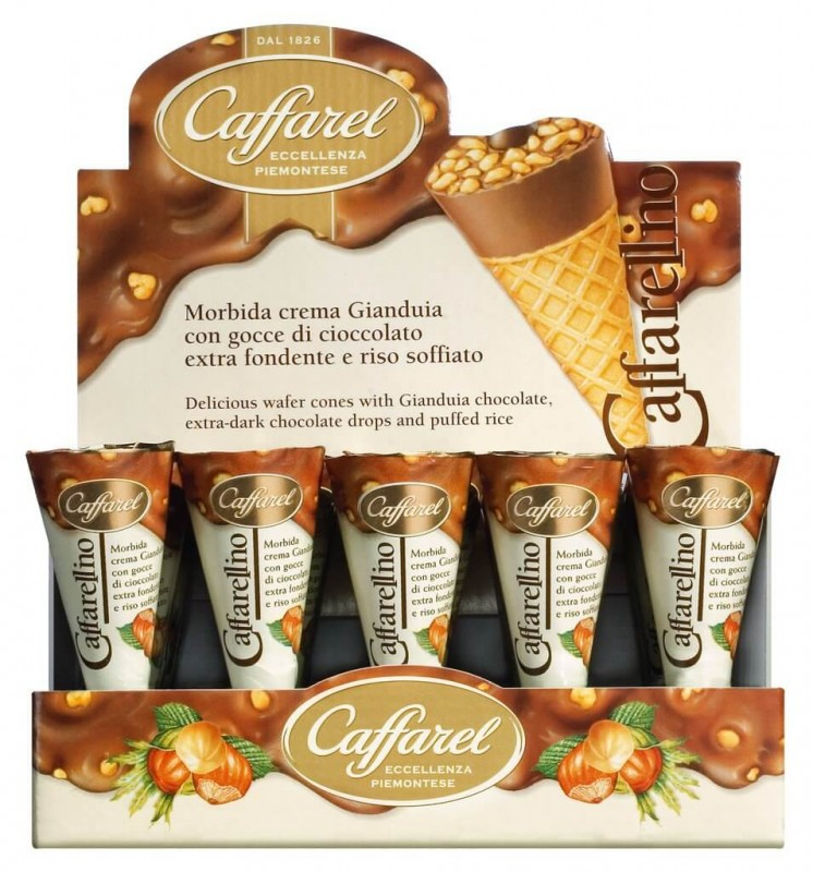 Caffarellino con crema gianduia, Eiswaffel gefüllt mit Gianduiacreme, Display, Caffarel - 24 x 25 g - Display