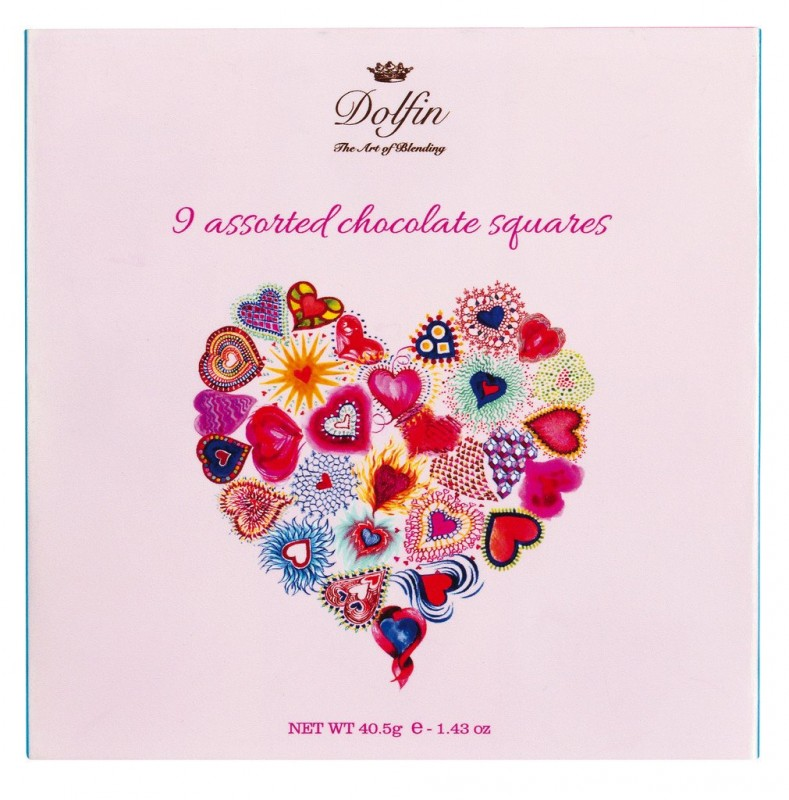 Geschenkpackung 9er Carre, Liebe, 9 Carre L` Amour, Dolfin - 40 g - Packung