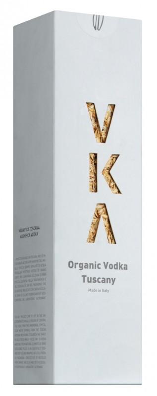 Vodka-Flasche in Geschenkpackung, Bio, VKA Organic Vodka Tuscany in astuccio, Futa - 0,7 l - Flasche