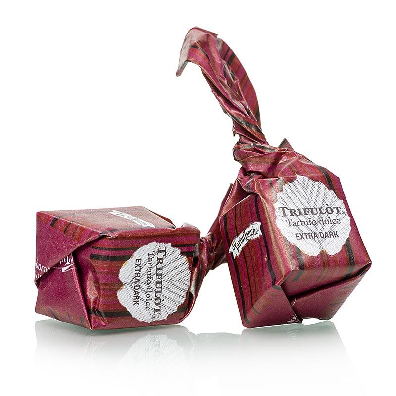 Mini Trüffel-Pralinen von Tartuflanghe - Tartufo Dolce dAlba EXTRA DARK, extra dunkle Schokolade, a 7g, schwarz / rot - 200 g - Beutel