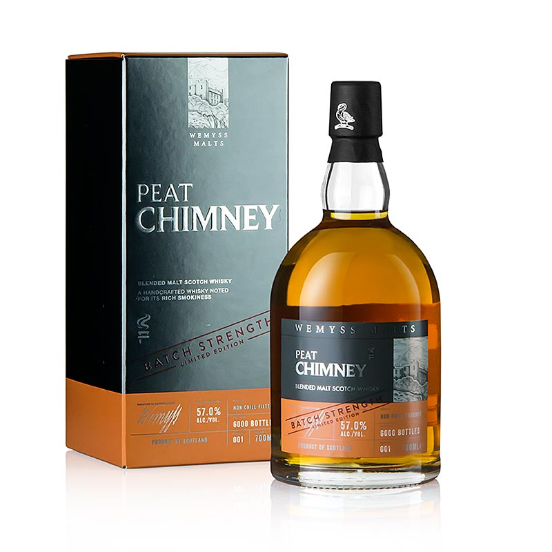 Blended Malt Whisky, Wemyss, Peat Chimney, Fassstärke, 57% vol., Schottland - 700 ml - Flasche