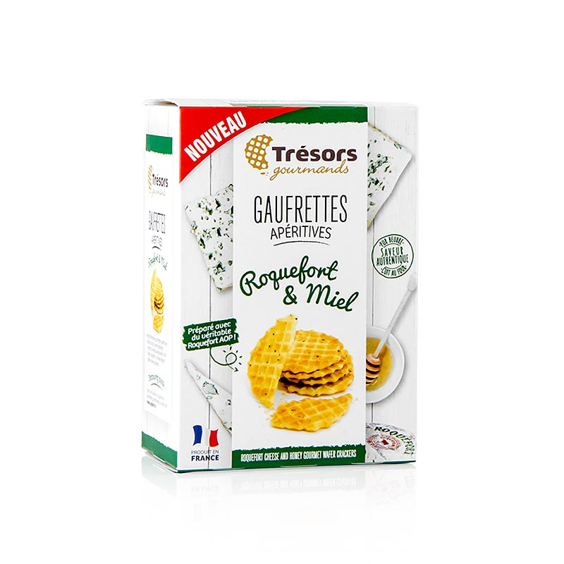 Barsnack Tresors - Gaufrettes, franz. Mini waffles with Roquefort cheese and honey - 60 g - box
