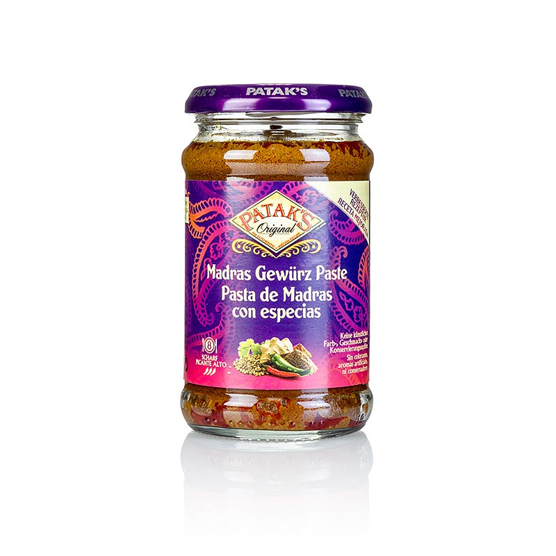 Curry Paste Madras, scharf, Pataks - 283 g - Glas