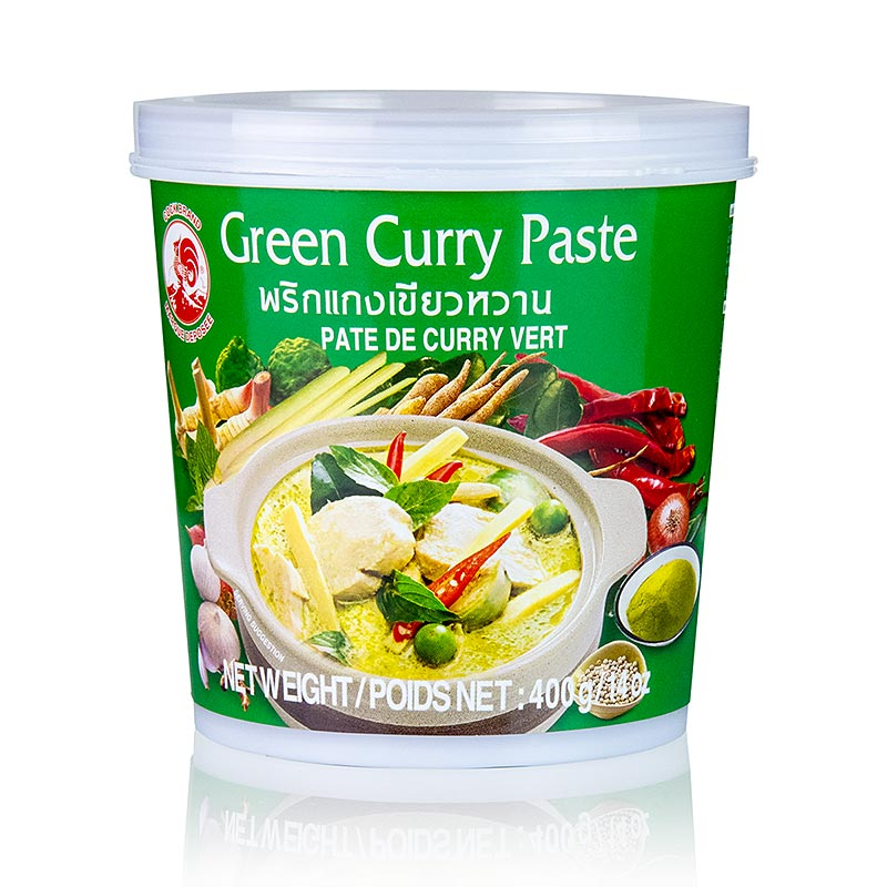 Curry Paste, grün, Cock Brand - 400 g - Becher