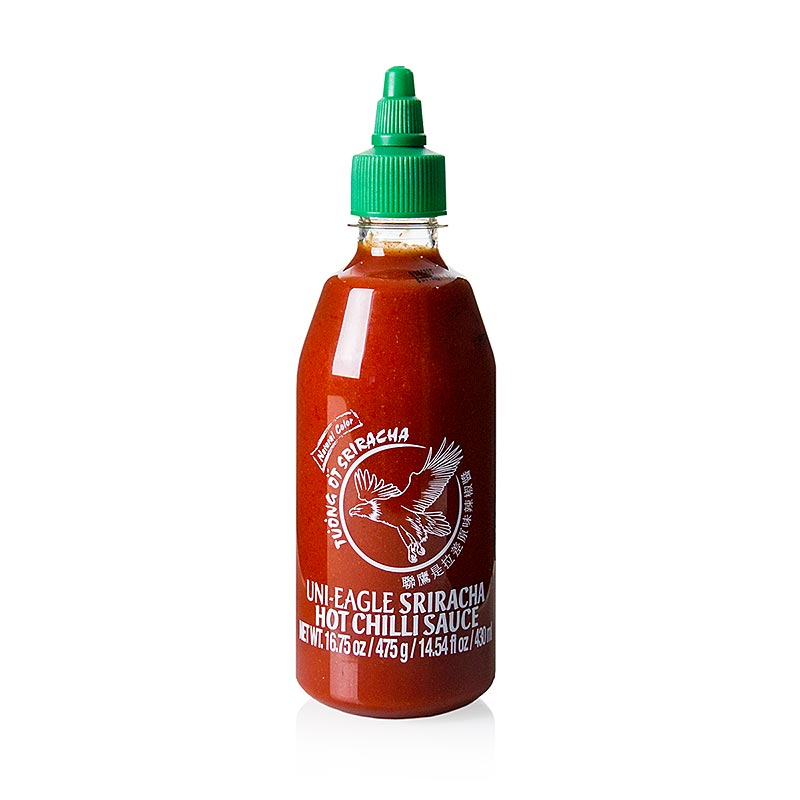 Chili sauce - sriracha, spicy, with garlic, squeeze bottle, Uni-Eagle - 430 ml - Pe-bottle