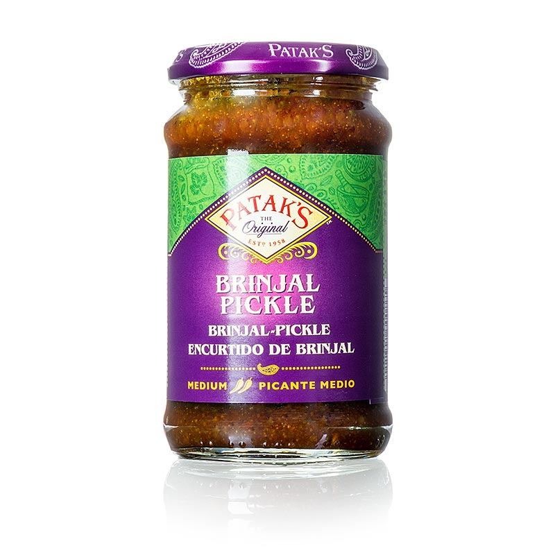 Brinjal Auberginen Pickle, medium, Patak`s - 312 g - Glas