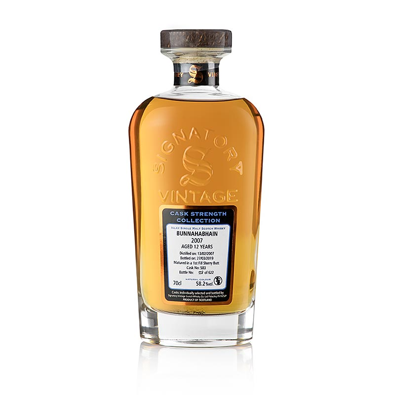 Single Malt Whisky Bunnahabhain Signatory 12 J. Sherry Butt, 58,2% vol., Islay - 700 ml - Flasche