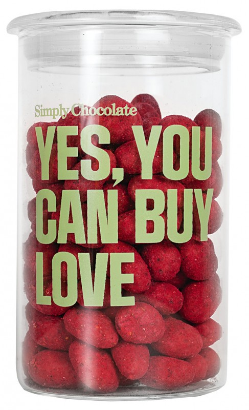 Yes, you can buy love, Geröstete Mandeln in weißer Schokolade, Simply Chocolate - 280 g - Glas