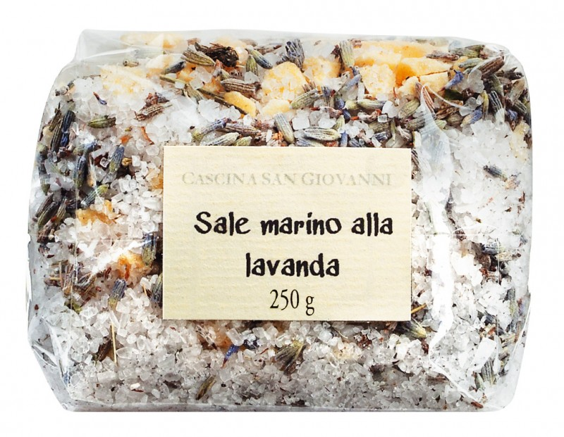 Sale marino alla lavanda, sea salt with lavender, Cascina San Giovanni - 250 g - bag