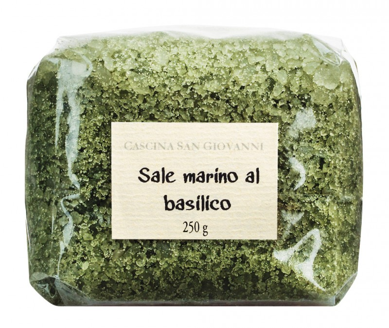 Sale marino al basilico, sea salt with basil Cascina San Giovanni - 250 g - bag