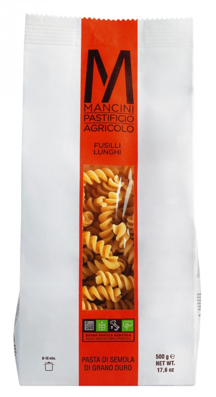 Fusilli Lunghi, Hartweizengrießnudeln, Pasta Mancini - 500 g - Packung