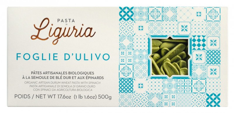 Foglie d`ulivo, organic, pasta made from durum wheat semolina with spinach, organic, pasta di Liguria - 500 g - pack