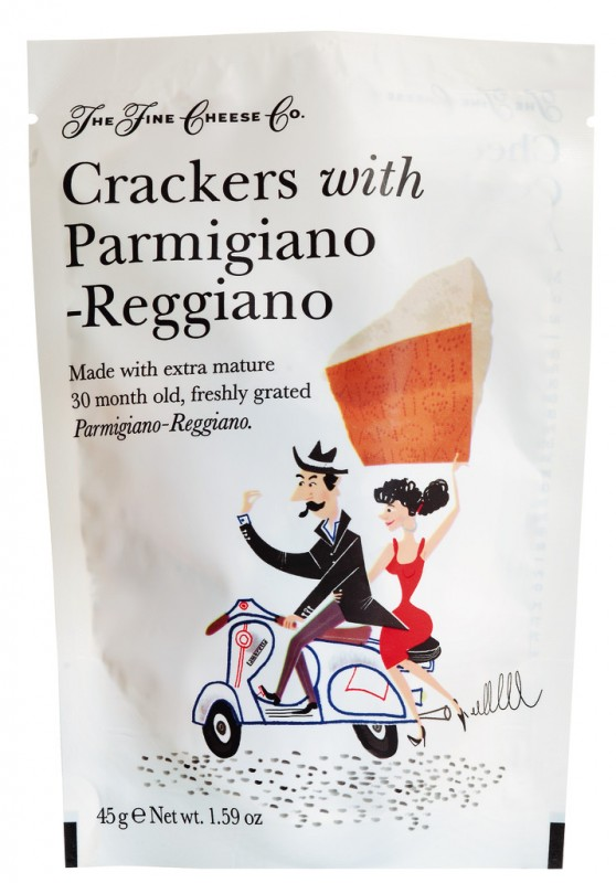 Crackers with Parmigiano Reggiano, Cracker mit Parmesan, Fine Cheese Company - 45 g - Packung