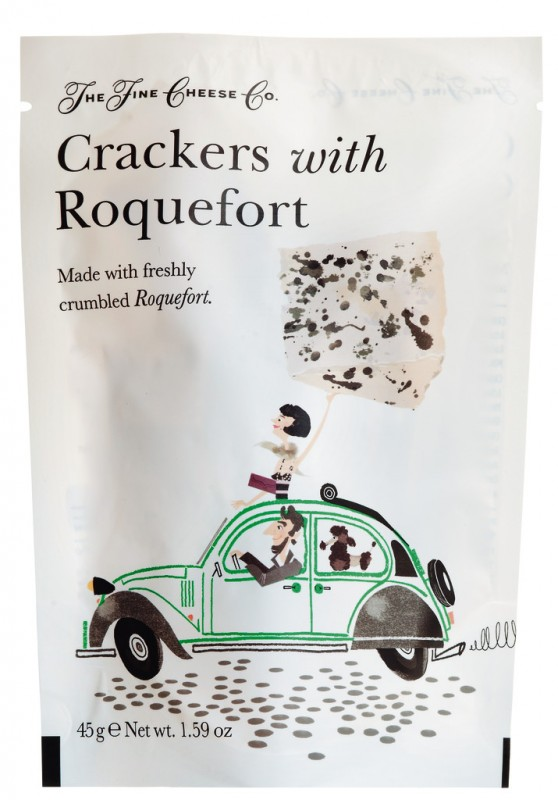 Crackers with Roquefort, Cracker mit Roquefort, Fine Cheese Company - 45 g - Packung