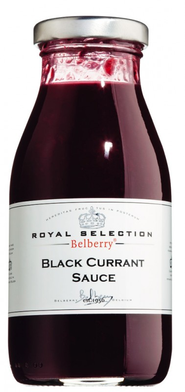 Black Currant Fruit Sauce Belberry, Schwarze Johannisbeere Fruchtsauce, Belberry - 250 ml - Glas