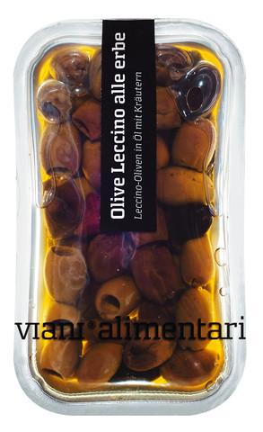 Olive Leccino alle erbe, Leccino-Oliven in Öl mit Kräutern, Viani Alimentari - 170 g - Schale