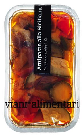 Antipasto alla Siciliana, Gemüsevorspeise mit Pinienkernen und Rosinen, Viani Alimentari - 185 g - Schale
