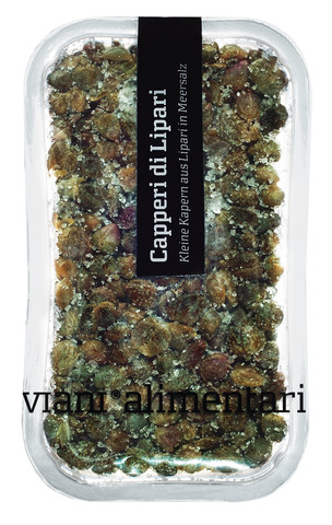 Kleine Kapern aus Lipari, Capperi di Lipari sotto sale, Viani Alimentari - 110 g - Schale