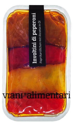 Involtini di peperoni semisecchi, Röllchen aus halbtrockenen Paprika, Viani Alimentari - 185 g - Schale