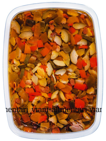 Antipasto alla Siciliana, Gemüsevorspeise mit Pinienkernen und Rosinen, Viani Alimentari - 1.000 g - Schale