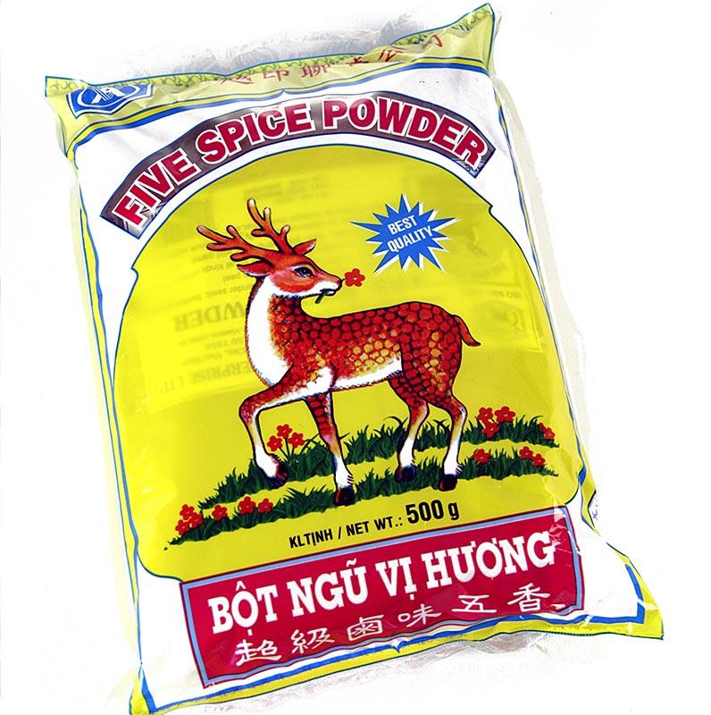 Five Spice Pulver, mit Anis, Fenchel, Pfeffer, Ingwer, Zimt - 500 g - Beutel