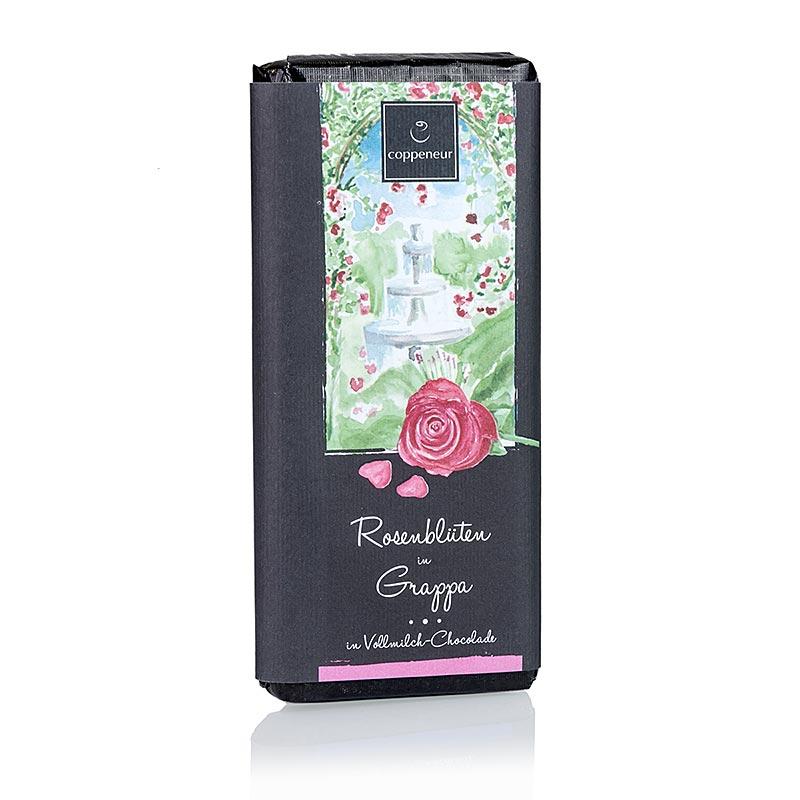 Coppeneur Rosenblüten mit Grappa Schokolade, handgeschöpfte Tafel - 75 g - Papier