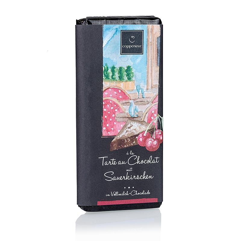 Coppeneur Tarte au Chocolat mit Sauerkirsche Schokolade, handgeschöpfte Tafel - 75 g - Papier