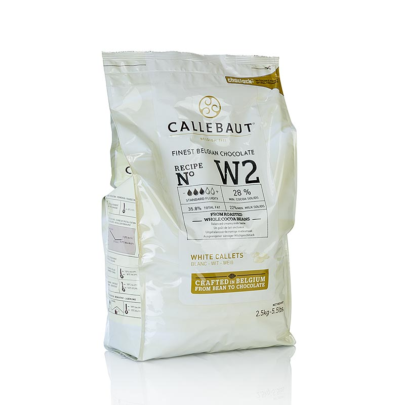 Callebaut Couverture Callets- weiß, 28% Kakaobutter, 22% Milch, W2NV - 2,5 kg - Beutel