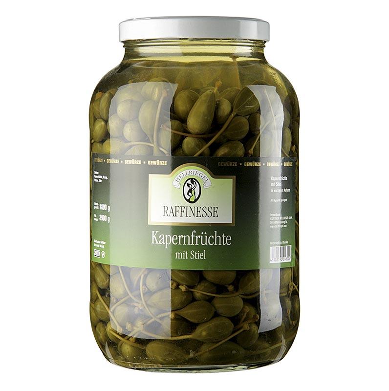 Kapernfrüchte, groß, mit Stiel, ø 18-21mm, Rafinesse - 3,9 kg, ca.180 St - Glas