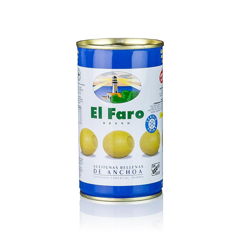Grüne Oliven, mit Anchovis Sardellen Füllung, in Lake, El Faro - 350 g - Dose