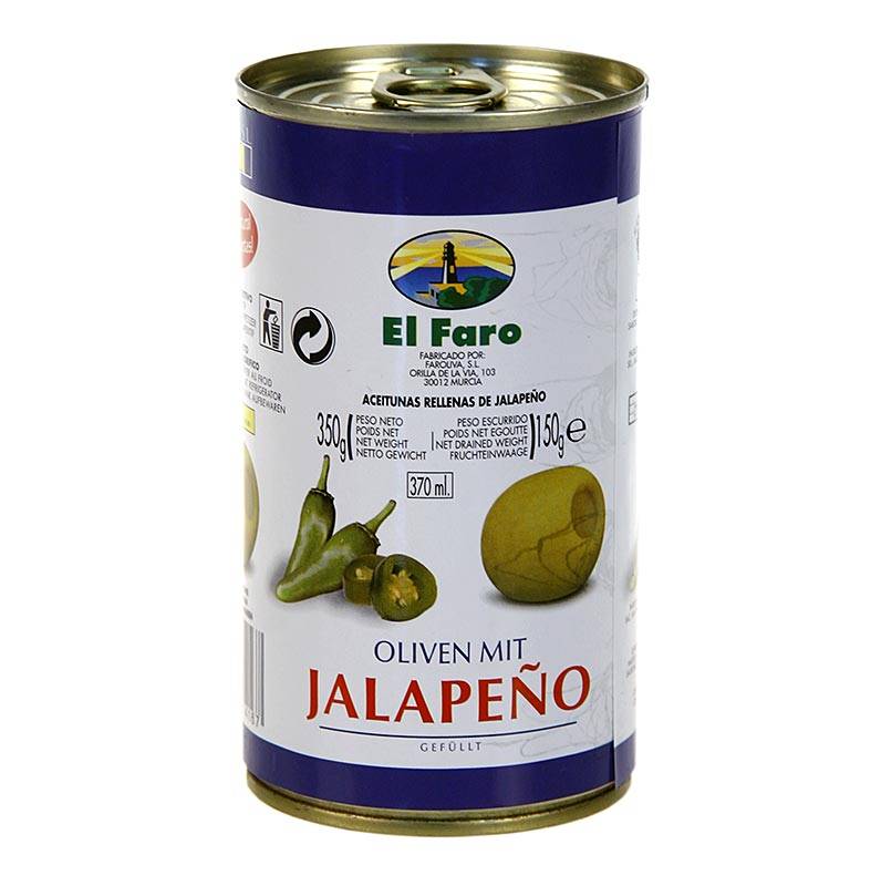 Grüne Oliven, mit Jalapano Chili, Oliven, in Lake, El Faro - 350 g - Dose
