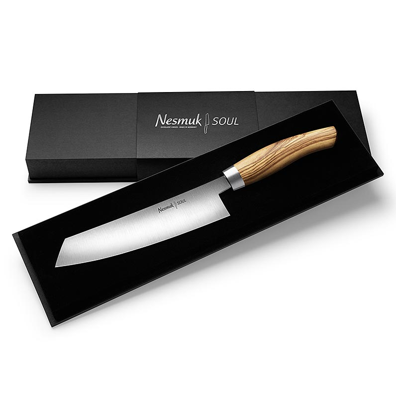 Nesmuk Soul 3.0 Kochmesser, 180mm, Edelstahlzwinge, Griff Olivenholz - 1 St - Schachtel