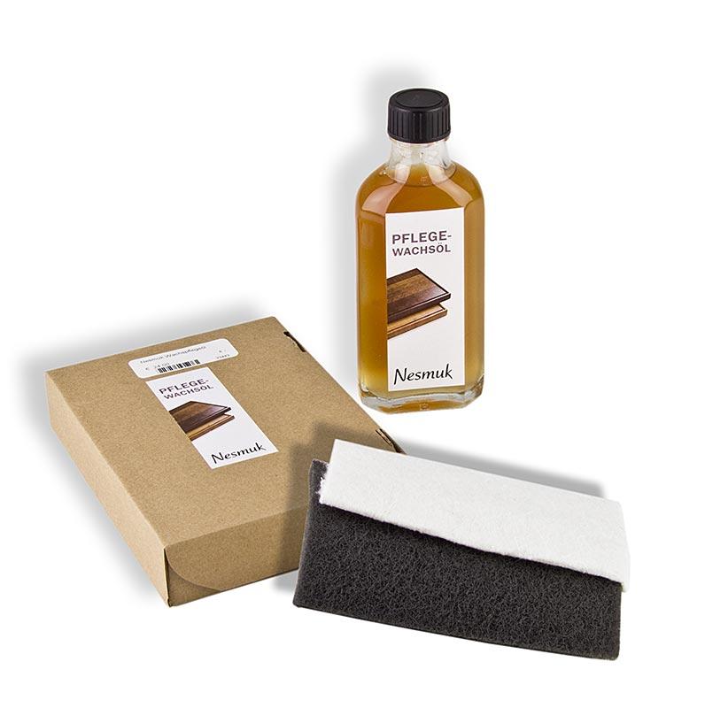 Nesmuk Pflege-Wachsöl für Nesmuk Eichebretter, mit Schleifvlies und BW-Tuch - 100 ml - Flasche