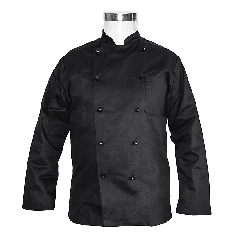 Kochjacke Basic, schwarz, Gr. L, inkl. 10 Knöpfe, Karlowsky - 1 St - Folie