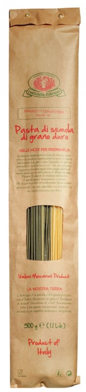 Spaghetti lunghi tris, Hartweizengrießnudeln, dreifarbig, lang, Rustichella - 500 g - Packung