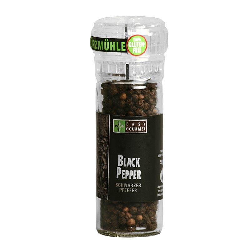 Gourmet-Gewürzmühle Black Pepper/schwarzer Pfeffer, Easy Gourmet - 55 g - Mühle