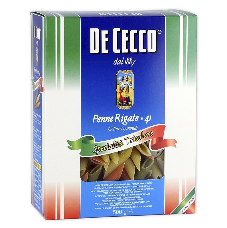 De Cecco Penne Rigate Tricolore, mit Tomate und Spinat, No.41 - 500 g - Beutel