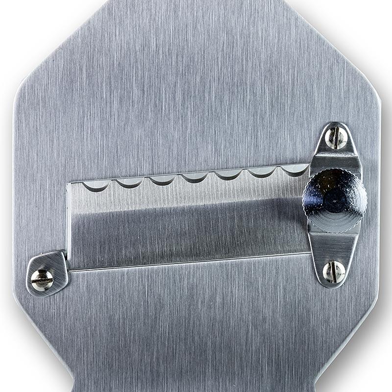 Trüffel-Hobel, Metall, gewellte Klinge, eckiger Kopf, breiter Holzgriff - 1 St - Schachtel