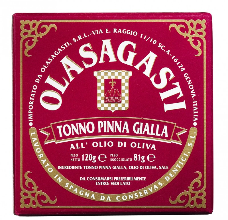 Tonno Pinna Gialla, tuna Pinna Gialla (red), Olasagasti - 120 g - can