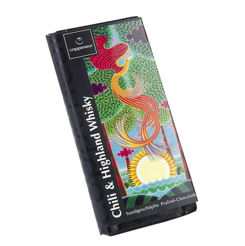 Coppeneur Chili Highland Whisky Schokolade handgeschöpfte Tafel - 75 g - Papier