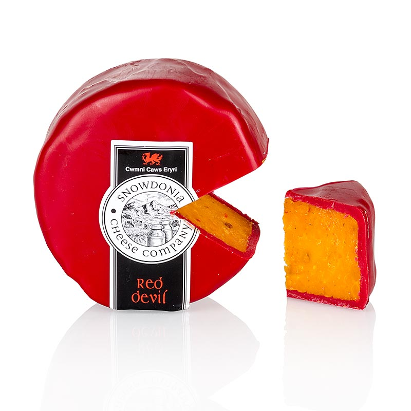Snowdonia - Red Devil, Leicester Käse, mit Pfeffer & Chili, roter Wachs - 200 g - Papier