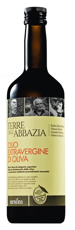 Olio extra vergine Terre dell`Abbazia, Natives Olivenöl extra Terre dell`Abbazia, Ursini - 750 ml - Flasche